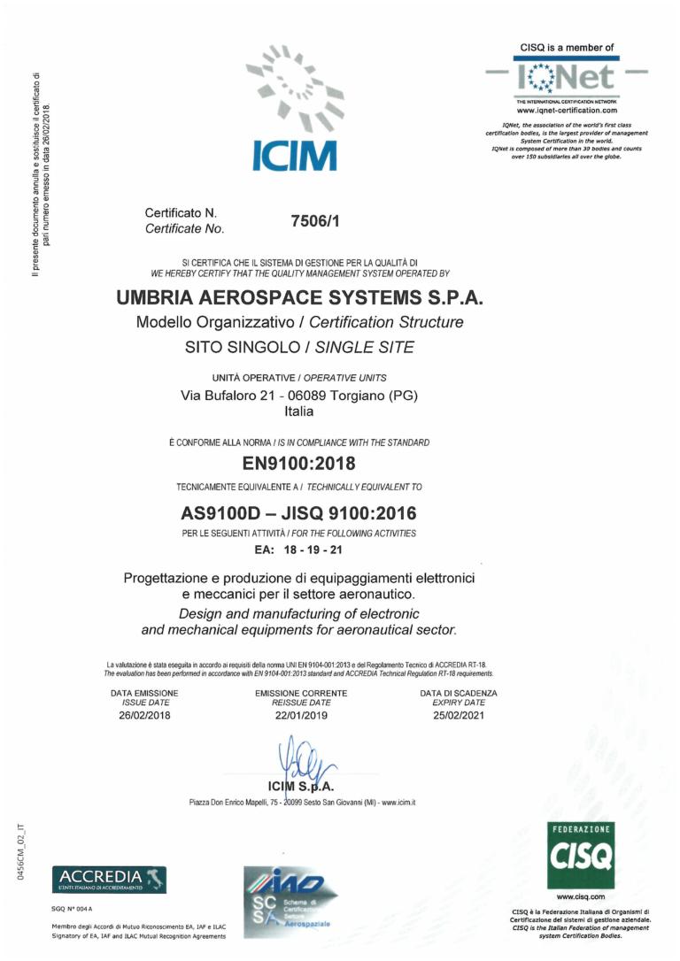 Certificate UAS-EN 9100_2018