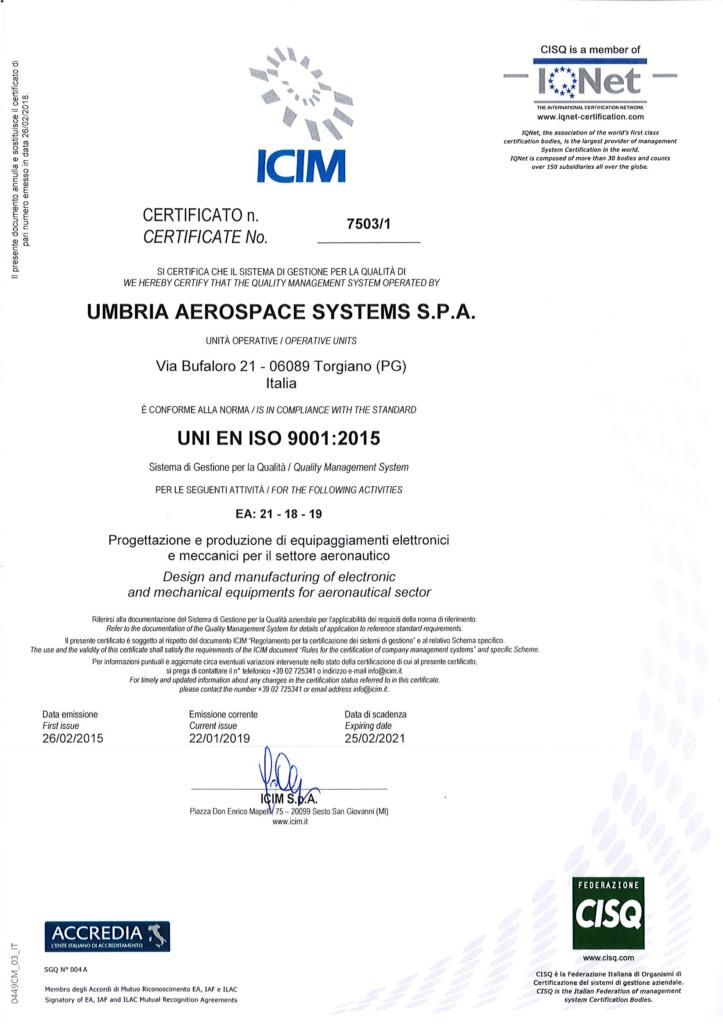 Certificate UNI EN ISO 9001.2015