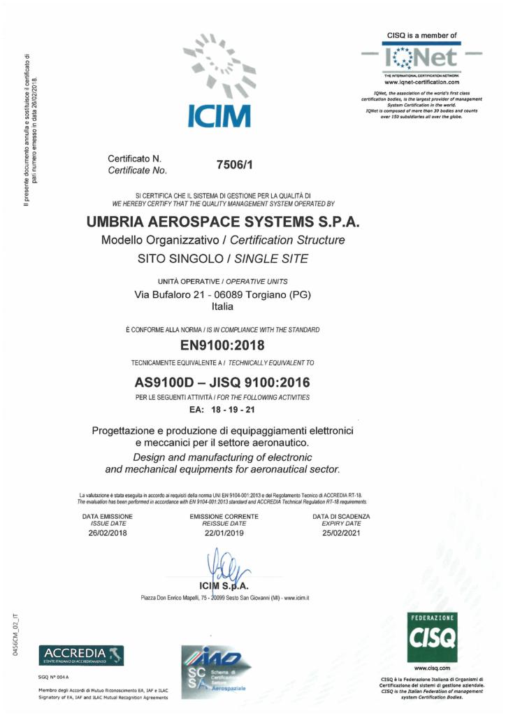 Certificato UAS-EN 9100_2018